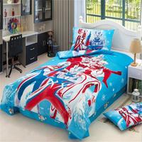 Japanese Anime Character Super Hero Ultraman Bedding Set Twin Size Cotton Bed Sheets Pillowcase Duvet Cover
