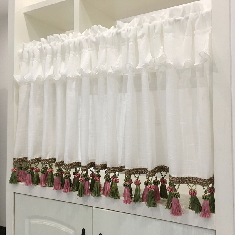 American Coffee Short Curtain Tulle Tassel Valance Sheer Voile Bay Window Half Curtain For Kitchen Cabinet Door Drapes QT033D3|Curtains| |  - title=