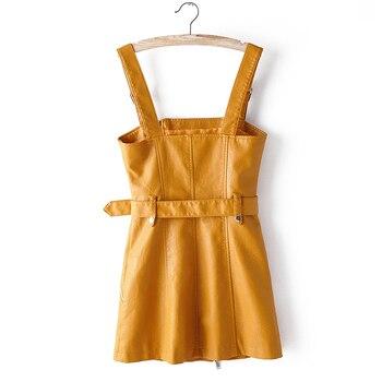 Fitailor Otoño Cuero Vestido General Mujeres Cremallera Sexy Espalda Descubierta Pu Suave Imitación Cuero Vestidos Slim Negro Rosa Amarillo Vestido Corto