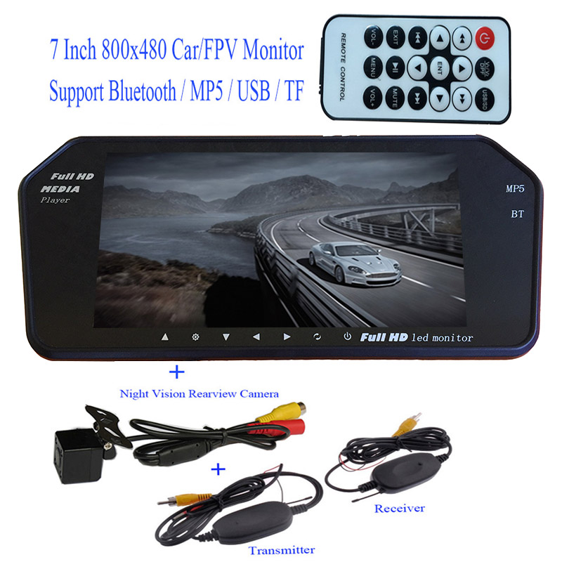 Bluetooth MP5 TF USB 800*480 LCD FPV / Car Mirror Monitor 7 inch screen + Wireless Backup Night vision Rear Waterproof HD Camera