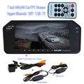 FPV MP5 Bluetooth TF USB 800*480 LCD/Del Coche Monitor Del Espejo 7 pulgadas de pantalla + visión Nocturna de visión Trasera de Copia de Seguridad Inalámbrica HD A Prueba de agua cámara
