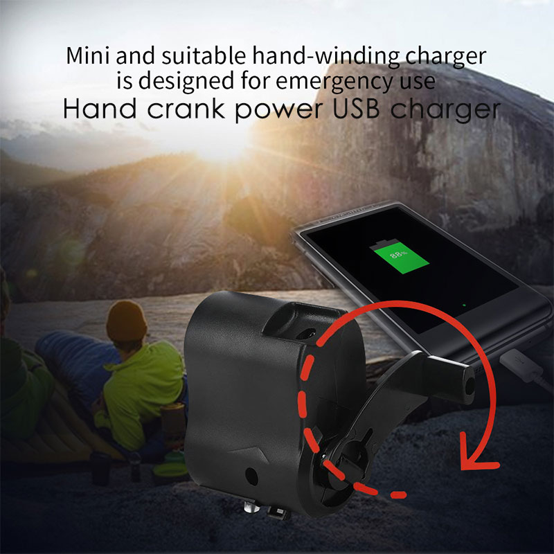 Durable Hand Crank Charger Hand Crank Charging Hand Power Dynamo Clockwise Rotation ABS Travel Emergency