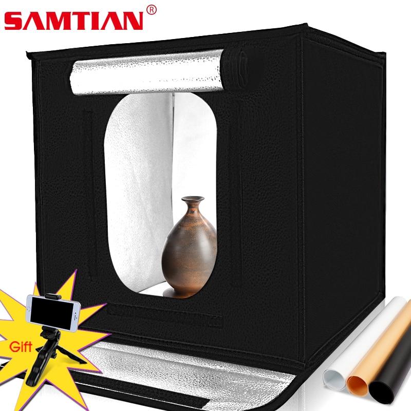 SAMTIAN F40 LED Light Box Portable Photo Studio 40cm Lightbox Photography Soft Box Photo Tent Room For Jewelry Toy Shooting