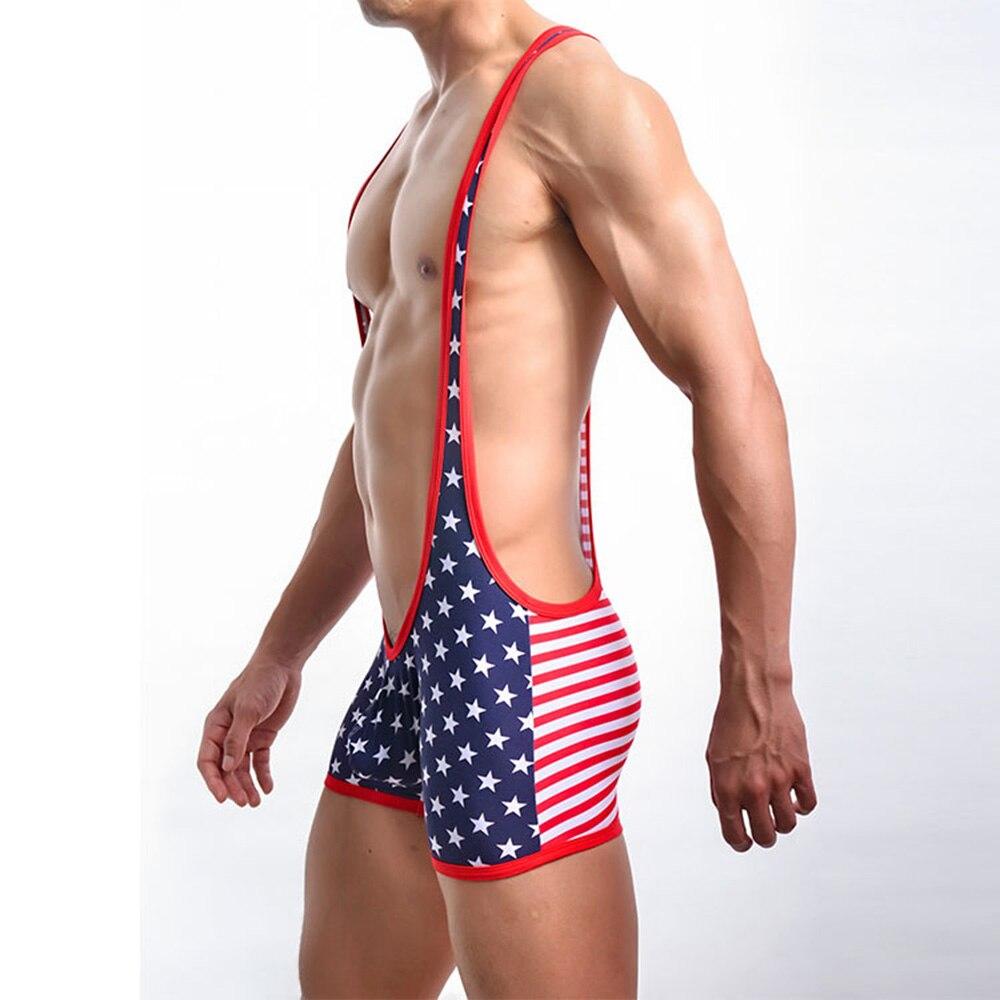 b155d4486fd0 American Flag Print Sexy Jumpsuit Men Breathable One-piece Underwear  Costumn Lingerie Bodysuit Jumpsuit Undershirt Plus Size