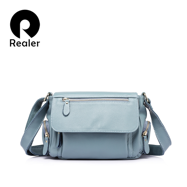 REALER brand fashion women genuine leather shoulder bag female luxury handbags women high quality messenger bags designer 2017