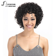Joedir Remy Human Hair Wigs For Black Women  Machine Made Brazilian Bouncy Curl F1B/99J Short Wig Free Shipping