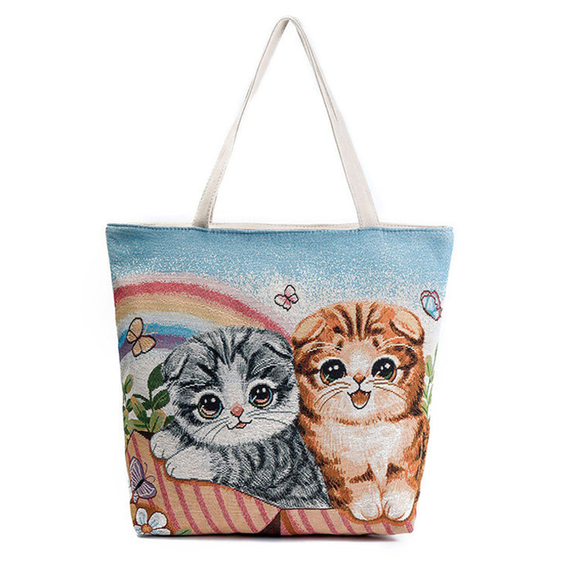 Adorable Cat Jacquard Canvas Bags Rainbow Butterfly Embroidered Shoulder(Brown Gray)