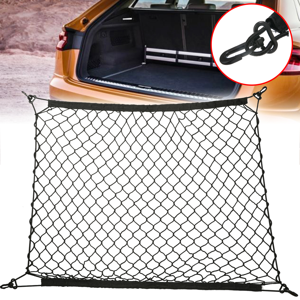 1pcs Stretchable Car Trunk Luggage Storage Cargo Organiser Nets 70x70cm Elastic Mesh Net with Hooks Auto Interior Accessories