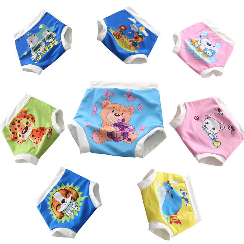 High Waist Baby Swim Cloth Diapers 3 Sizes, Newborn to Toddler Swim Cloth Diapers Swimsuit Washable Pool Pant Cloth Diaper Baby