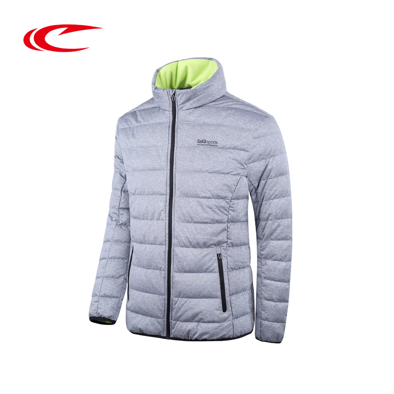 SAIQI Thick Running Jackets Gray Duck Down Stand Collar Jacket Men Runing Eiderdown Coat Windproof Warm Clothes Brand Sport Wear