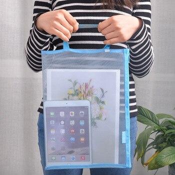 Solid Color Document Bag A4 A5 Transparent Gridding Zip Storage Bags Pen Filing Products Pocket Folder Office & School Supplies 1