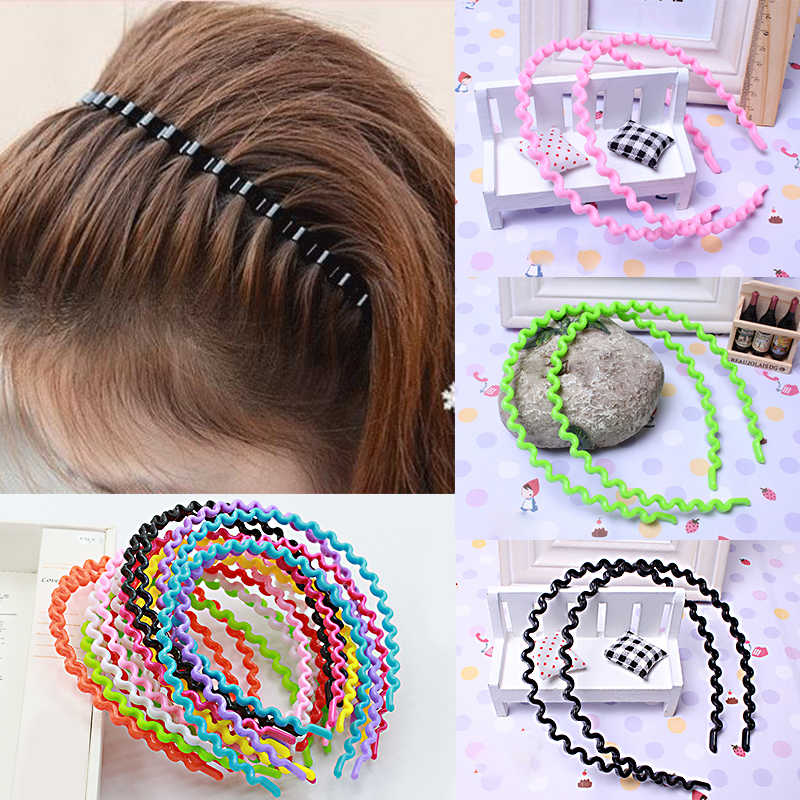 Moda Simple 1 pieza caliente mujeres niñas niños moda sólido plástico coreano ondulado diadema accesorio para el cabello prenda para la cabeza 9 colores diademas