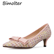 Bimolter Costume Tweed Cow Leather Pumps For Women Elegant Strip Fashion Pointed Toe Thin Heels With Butterfly Knot Shoes NC036