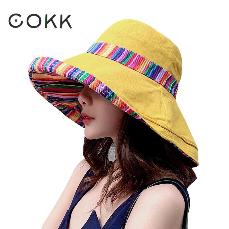 COKK Для женщин летние широкополая шляпа в рыбацком стиле Кепки Двусторонняя шляпа от солнца Женская широкополая шляпа с широкими полями в богемном стиле; Пляжные шляпы шапочка для пляжа сезонная Новинка|Женские пляжные шляпы|   | АлиЭкспресс