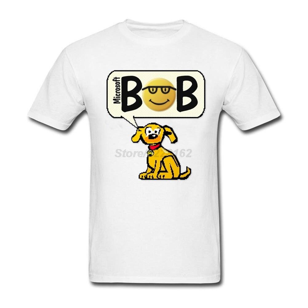 Человек Rover от Microsoft Боб футболки Уникальный Дизайн o Средства ухода за кожей шеи костюмы с компьютером собака funky отличное качество футболки...