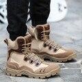 De alta calidad de Senderismo Hombres SWAT Botines Botas de Cuero Retro trabajo Confort Seguridad EE.UU. Desierto Chicos Ejército Cordón Militar zapatos