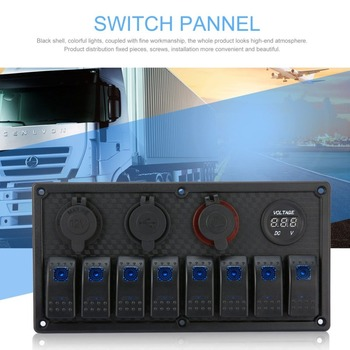 8 Gang LED Car Boat Rocker Switch Panel Dual USB Cigarette Lighter Socket  Voltmeter Auto Car LED Boat Switch Panel