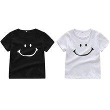 Футболка с короткими рукавами и рисунком смайлика для новорожденных мальчиков и девочек футболки, топы, одежда Забавные Рубашки Летняя одежда для детей-подростков от 6 до 24 месяцев
