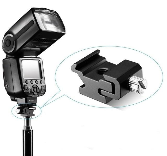 Kaliou 1pcs Camera Metal Cold Shoe Hot Shoe Flash Bracket Mount Adapter With 1/4 Tripod Screw To Light Stand Tripod