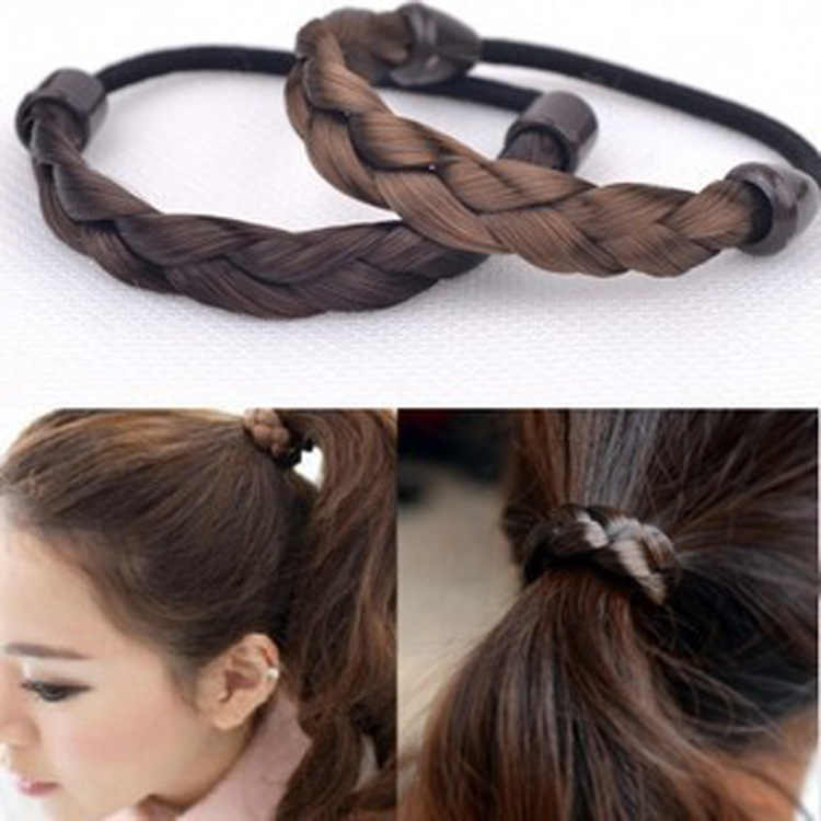 wholesale female Korean fashion wig hair braided rope ring simple elastic hairband