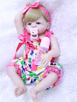 Full silicone reborn dolls NPK 22 bebes reborn new born girl princess dolls for child blond hair with pacifier bottle