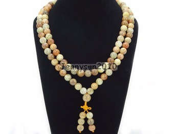 Natural Sunstone 10mm Gems Stone Buddhist 108 Bead Prayer Mala Long Necklace Multi-Purpose Bracelet Necklace 5Strands/Pack