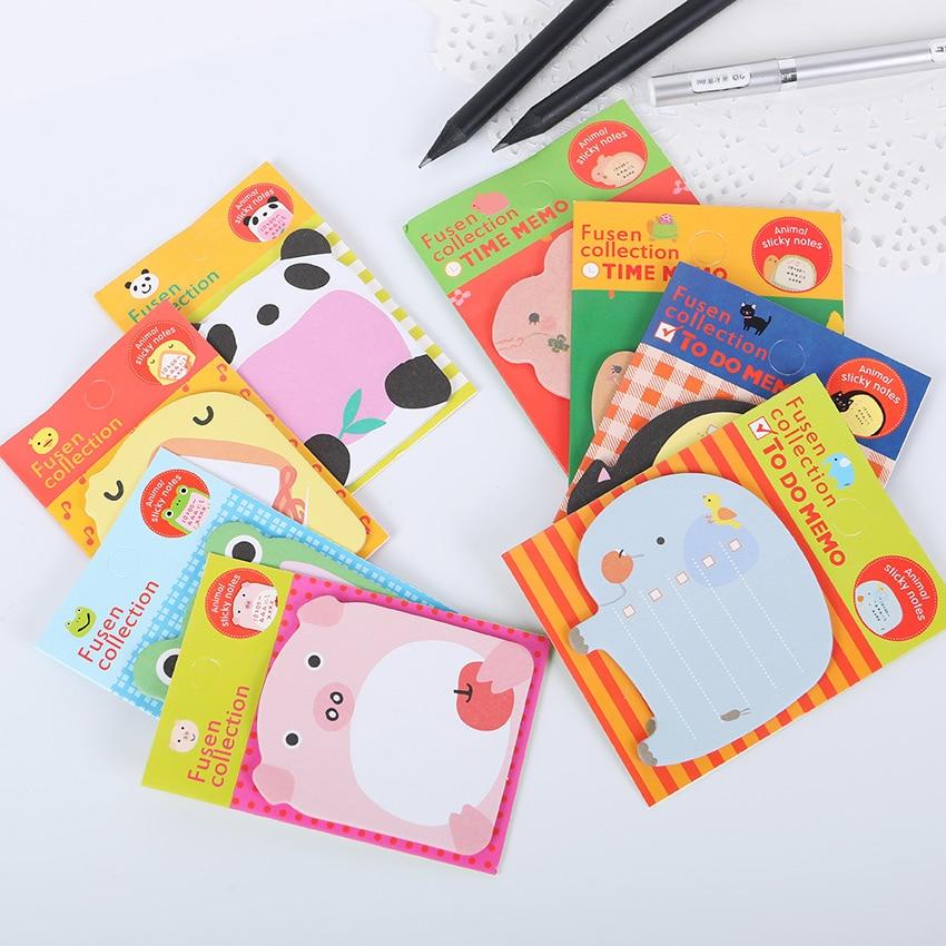 Office Stationery Sticky Notes Korea Cute Kawaii Forest Animal Sticker Bookmark Marker Memo Sticker Pape