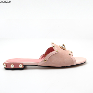 Image 3 - Summer Flat Sandals Women Shoes 2019 luxury Brand Designer Sandals Pink Ladies Leather Sandals Shoes Woman Slippers Plus size 11