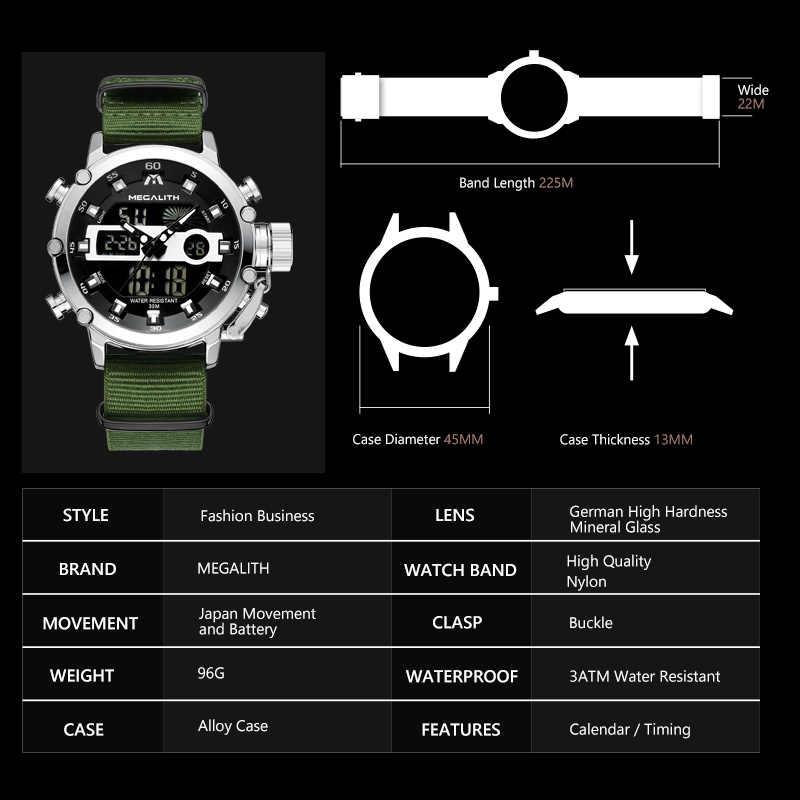 Megalith Sport Casual Horloges Mannen Lichtgevende Waterdichte Mannen Top Merk Luxe Datum Led Analoge Quartz Horloge Klok Relogio Masculino