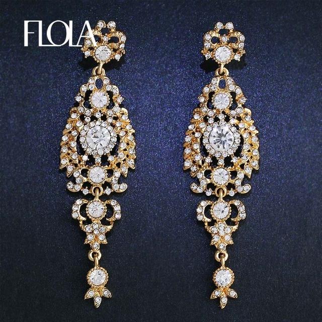 Clearance Crystal Gold Wedding Earrings Long Drop Fashion Jewelry Pendant For Women