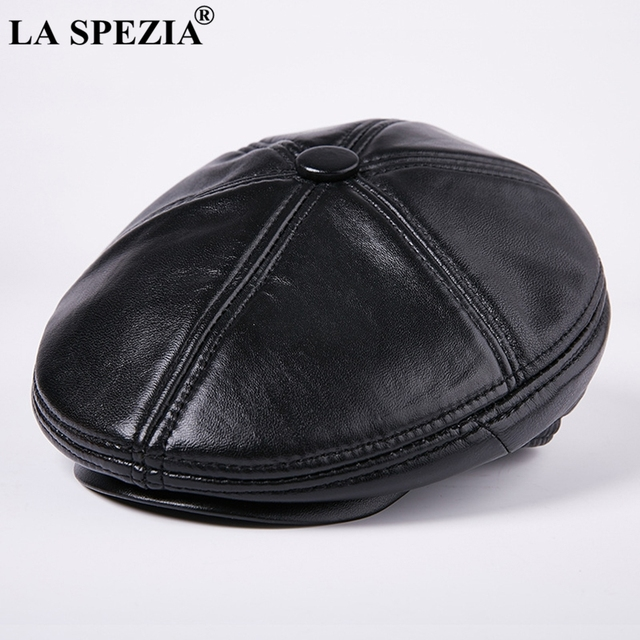 LA SPEZIA Black Berets For Men Thick Warm Driving Cabbie Cap Male Genuine Leather Winter Retro Artistic Caps Vintage Flat Hats