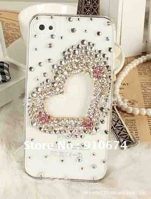 F2012 Fashional Luxury heart Diamond Case for iphone 4 4g crystal bling bling diamond case cover ree shipping