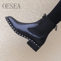 34 39 HOT Black ankle boots 2018 fashion high end atmospheric studded boots square heel round toe women's short boots