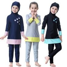 2018 Islamic Swimsuit For Kids Muslims Girls Muslim Swimwear Modest Children's Islamic Swimwear for Kids Biquini Infantil Badpak