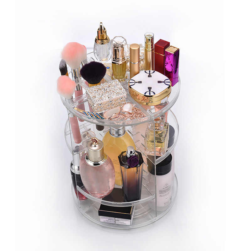 Clear Makeup Organizer Rotatable Cosmetic Jewelry Storage Holder for Lipsticks Eyeshadow Nail Polish TY99