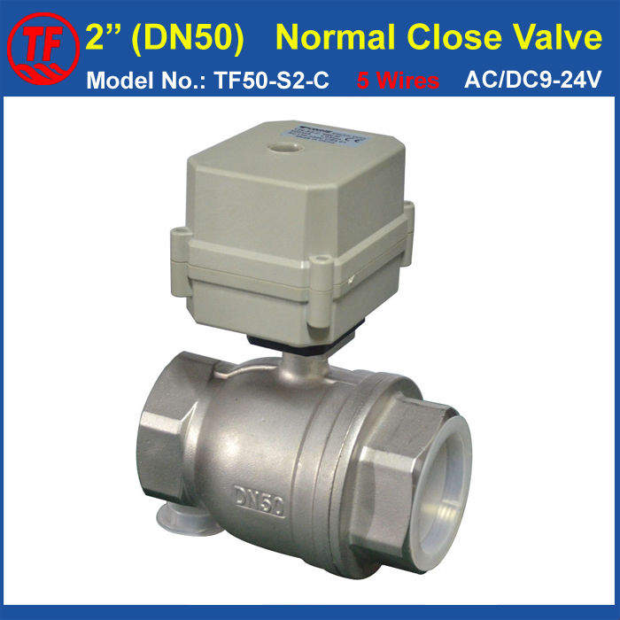 DN50 Stainless Steel Normal Close Valve AC/DC9-24V 5 Wires With Signal Feedback SS304 BSP/NPT 2'' Electric Actuated Valve ac110 230v 5 wires 2 way stainless steel dn32 normal close electric ball valve with signal feedback bsp npt 11 4 10nm