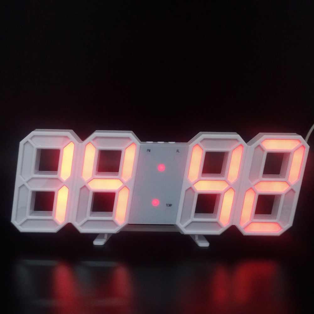 เครื่องวัดอุณหภูมิอัจฉริยะของ 3D LED นาฬิกาอิเล็กทรอนิกส์สเตอริโอดิจิตอลนาฬิกาปลุกสีขาวกรอบ/กรอบสีดำ