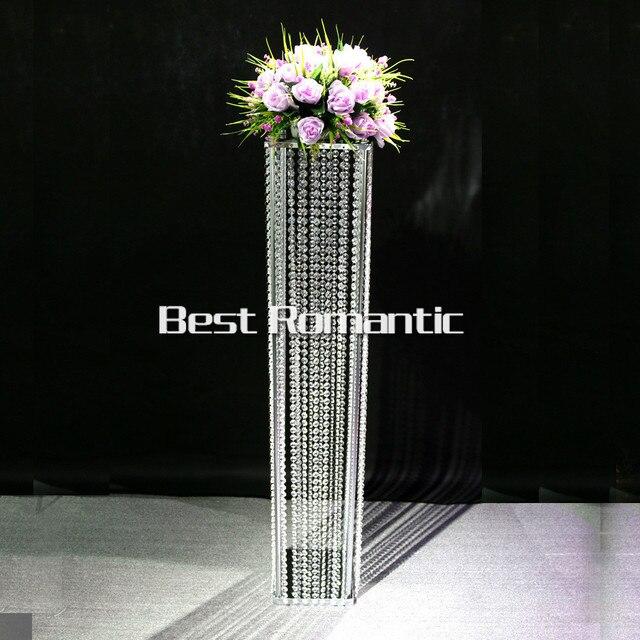 Tall120m 10pcs Lot K9 Square Crystal Wedding Centerpiece Stand Candelabra Dia