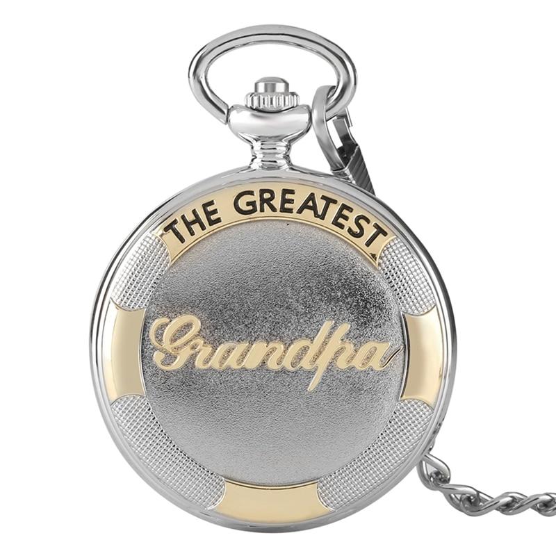 Vintage 3D The Greatest Grandpa Pocket Watch Script Special Grandfather Clock For Unique Thanksgiving Gifts Reloj De Bolsillo