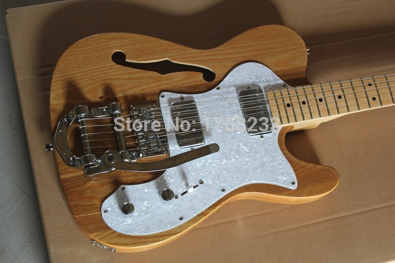 . Free Shipping F TL Semi Hollow Body F Hole Jazz Electric Guitar Natural Wood Bigsby Big Rocker Chrome Hardware chibson lp custom small jazz electric guitar body ebony fingerboard with f hole semi hollow body in aged sunburst 110813