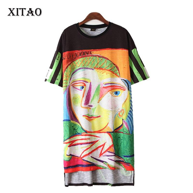 [XITAO] 2017 new summer fashion Europe street women short sleeve abstract pattern print o-neck pullover knee-length dress KLN004