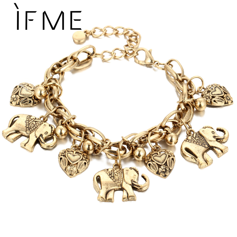 IF ME Vintage Bohemian Gold Color Elephant Heart Charms Bracelets for Women Fashion Chain Gift Pulseira Feminina Jewelry(China)