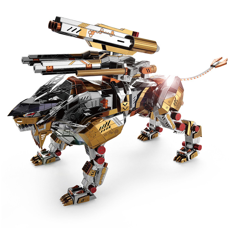 MICROWORLD 3D Metal Puzzle Mechanical Roaring Lion Animal High Level DIY Puzzle Model Building Adult Hobby Man Collection Gift
