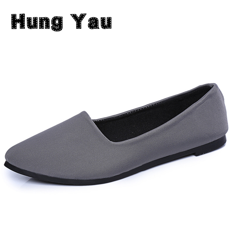 Hung Yau Women Flats Casual Solid Pointed Toe Slip-On Flat Shoes Soft Comfortable Women Loafers Shoes Zapatos Mujer Plus Size 40 women flats slip on casual shoes 2017 summer fashion new comfortable flock pointed toe flat shoes woman work loafers plus size