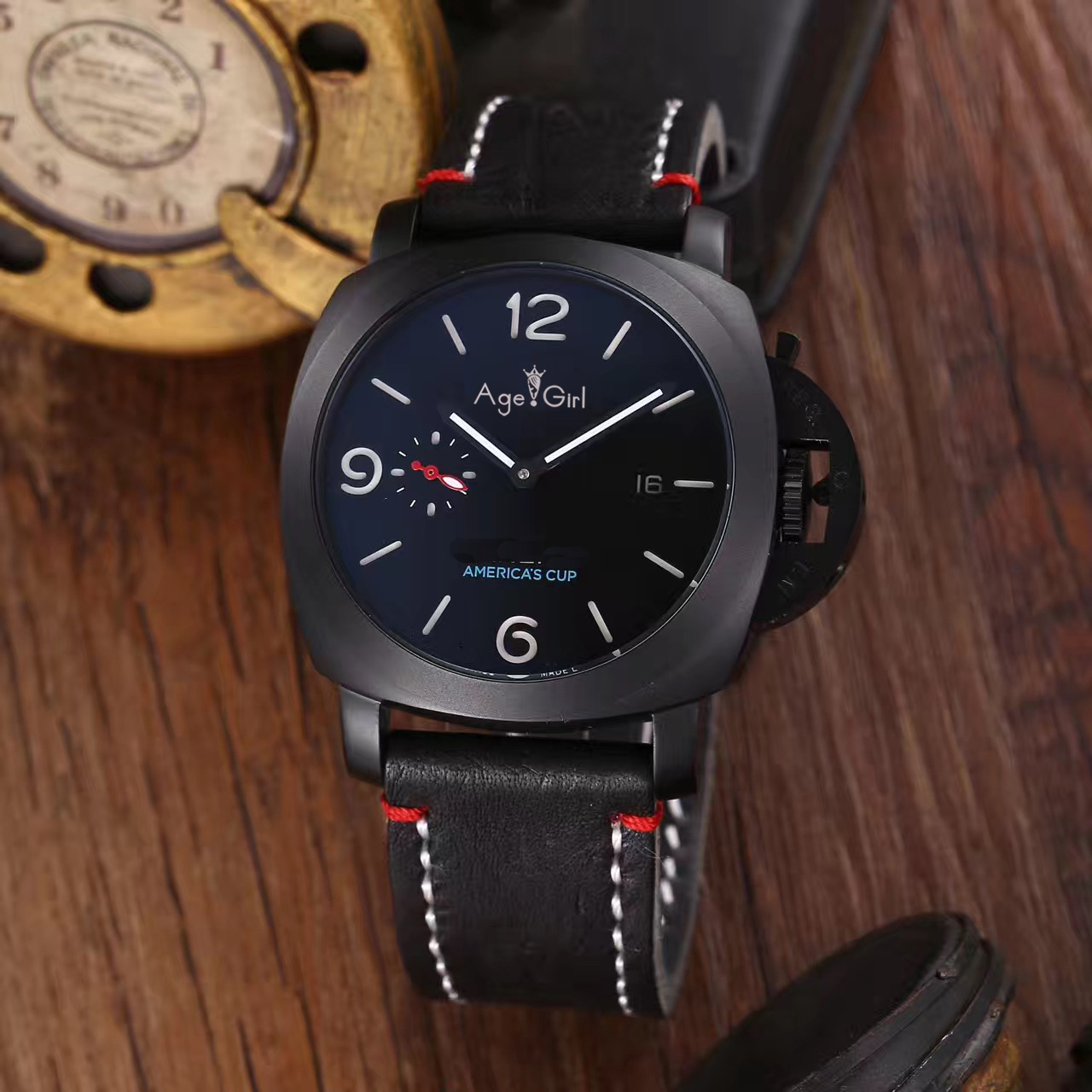 Luxury Brand Men Automatic Mechanical Sapphire Stainless Steel Black Red Blue 1950 America's Cup Watch Luminous Leather Rubber