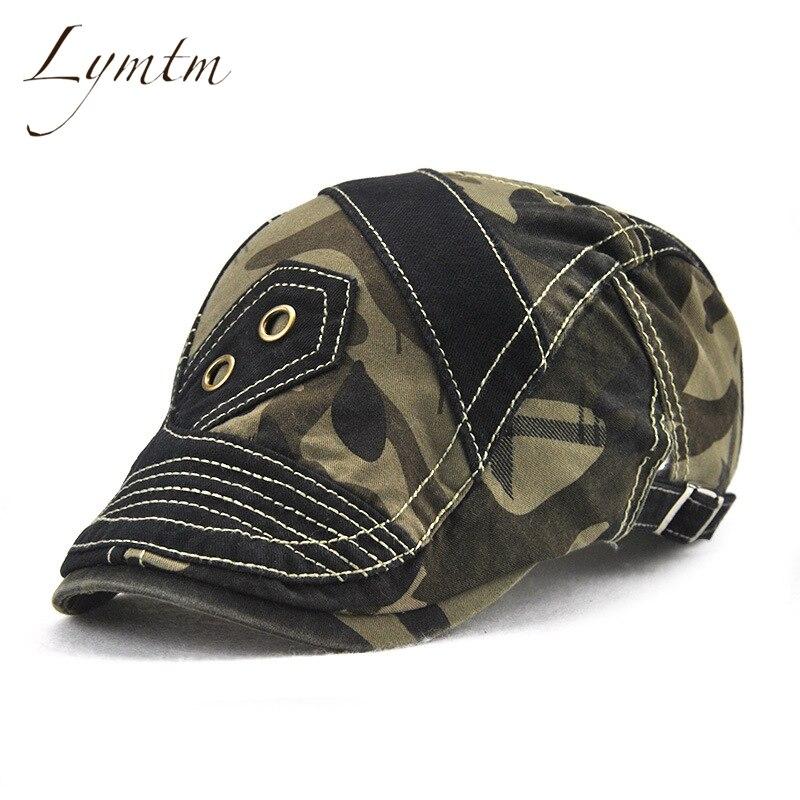 [Lymtm] 2017 Autumn Outdoor Camouflage Patchwork Newsboy Caps Men Adjustable Driving Flat Golf Cap Spring Camo Print Cotton Hat