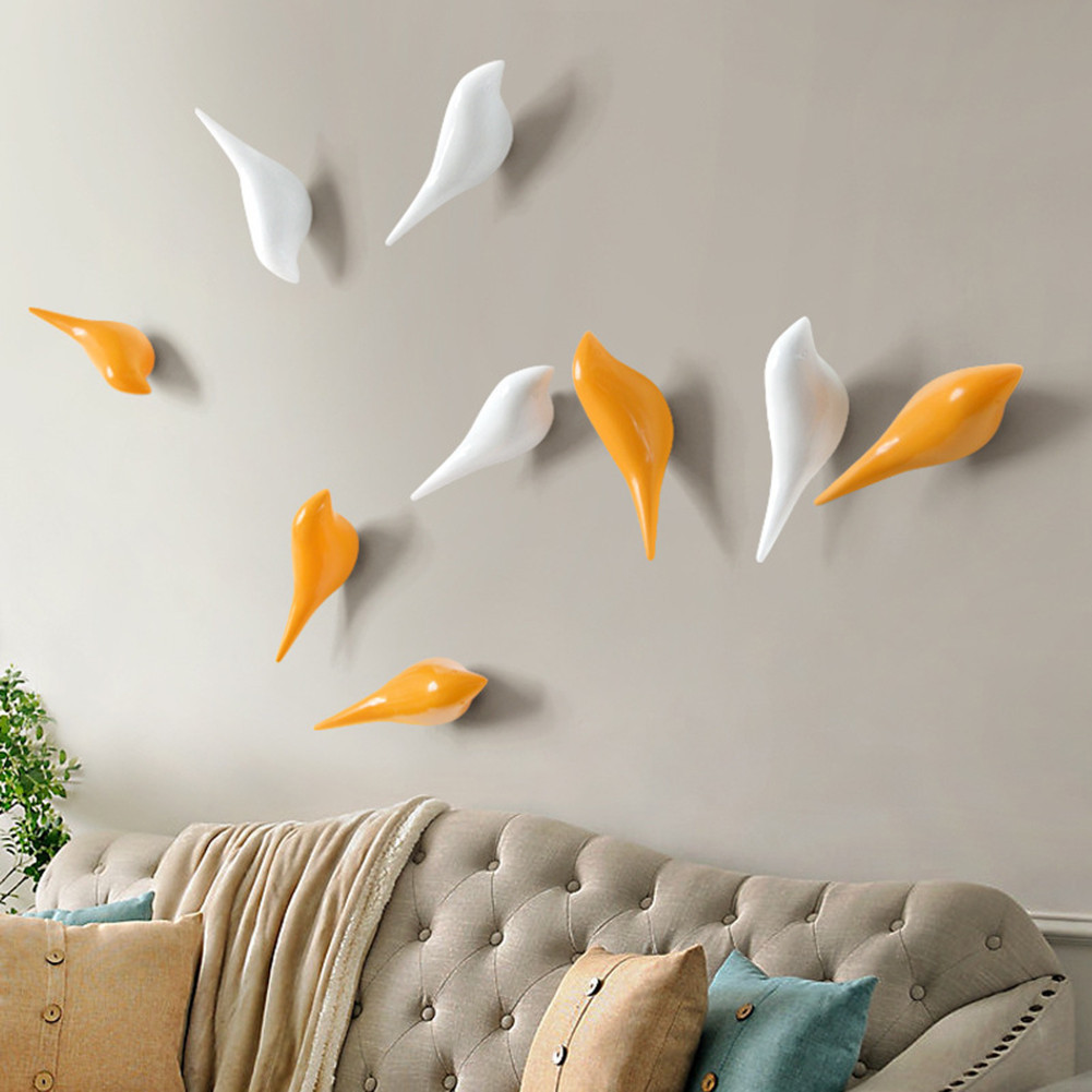 Creative wall hooks bird decoration Resin wood grain hooks bedroom ...