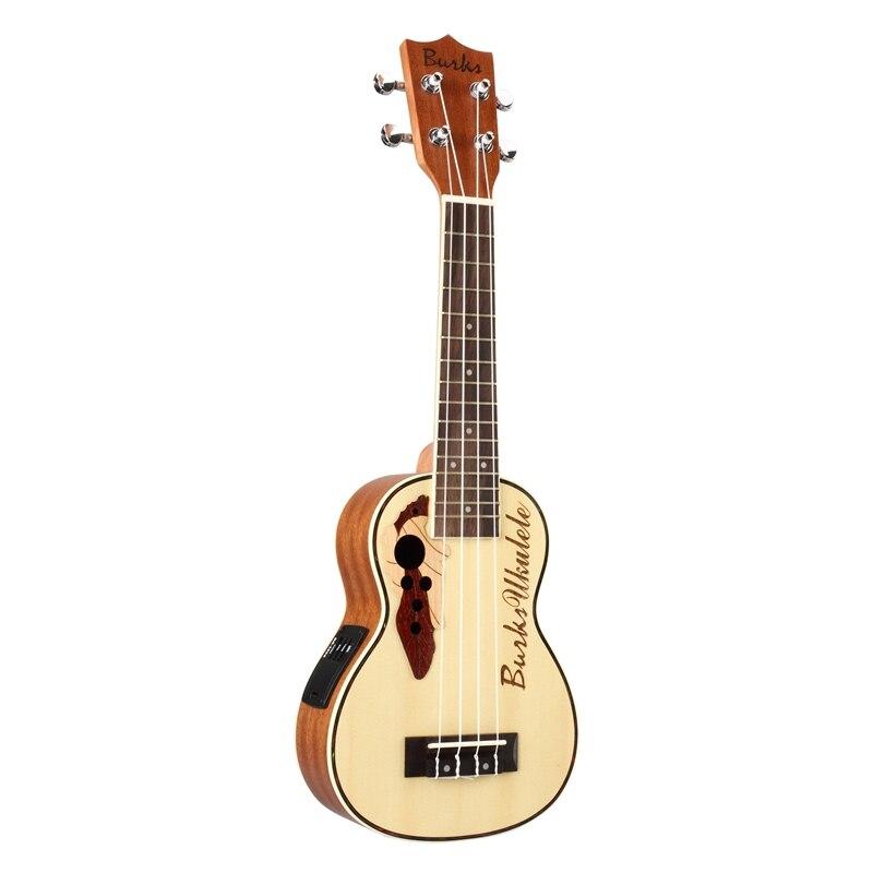 Ukulélé de Concert Burks ukulélé en épicéa ukulélé acoustique avec Kit de ukulélé intégré égaliseur