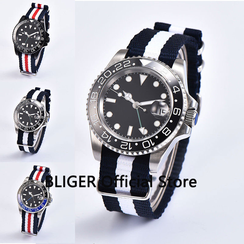 Sapphire Crystal 40mm Black Sterile Dial Ceramic Bezel Luminous Marks GMT Function Automatic Movement Mens Watch Nato Band P160Sapphire Crystal 40mm Black Sterile Dial Ceramic Bezel Luminous Marks GMT Function Automatic Movement Mens Watch Nato Band P160