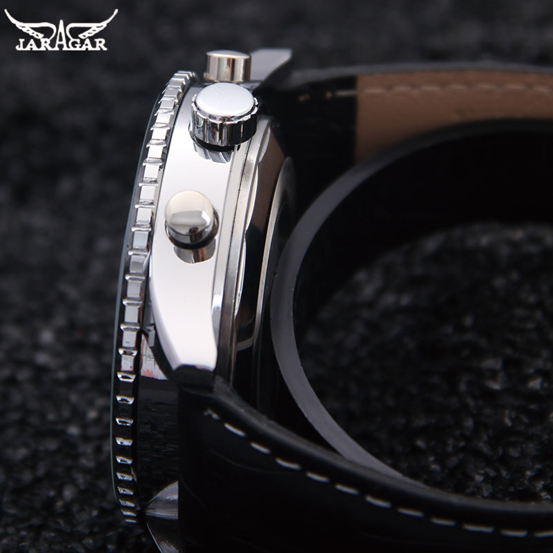Image 4 - JARAGAR Brand Luxury Men Mechanical Watches Mens Automatic 6 Hands Genuine Leather Strap Watches Black Auto Date Wristwatcheswristwatch brandwristwatch blackwristwatch mens automatic -